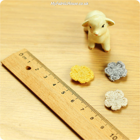 handmade crochet embellishment - 3 petite flowers - grey white yellow