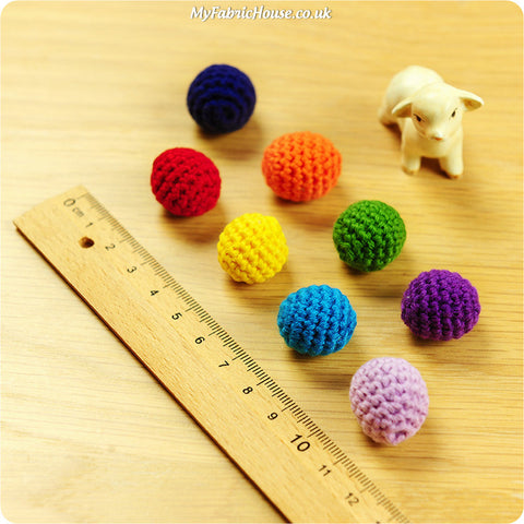 handmade crochet embellishment - 8 rainbow beads