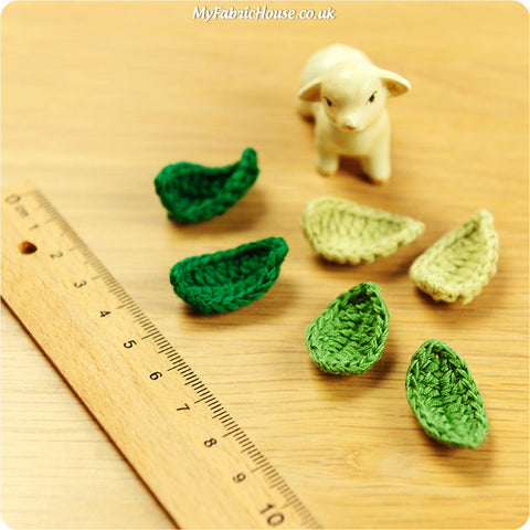 handmade crochet embellishment - 6 green leaves