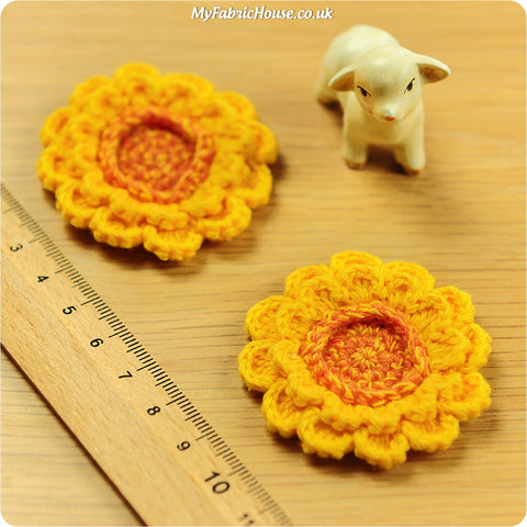 handmade crochet embellishment - 2 yellow sunflowers
