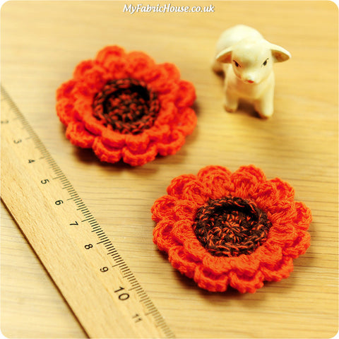 handmade crochet embellishment - 2 orange sunflowers