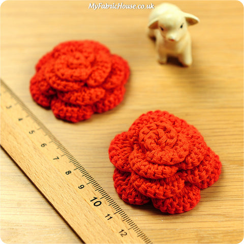 handmade crochet embellishment - 2 orange roses