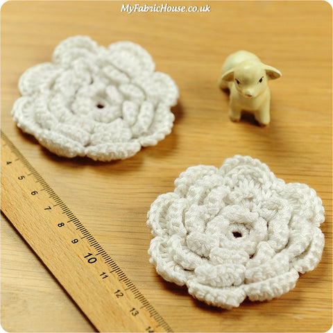 handmade crochet embellishment - 2 white flowers