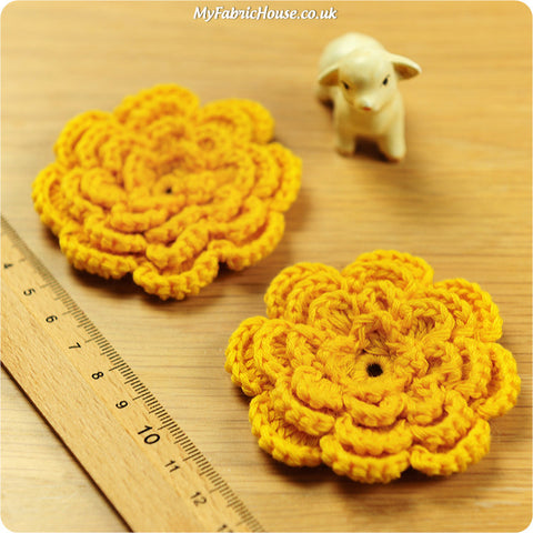 handmade crochet embellishment - 2 yellow flowers