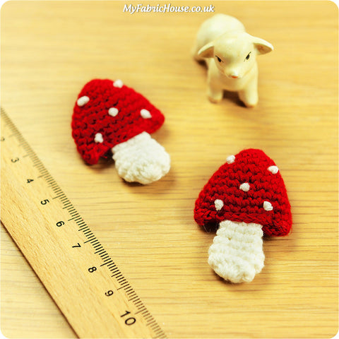 handmade crochet embellishment - 2 red toadstools