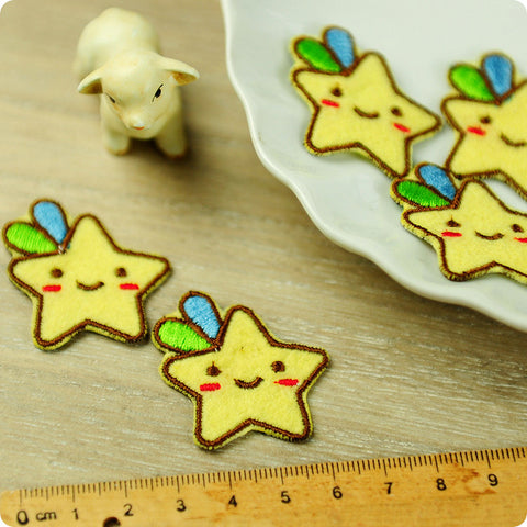 Stars - yellow shooting stars embroidery & felt iron on patch for kids 2pcs AP1503-04