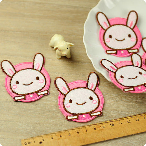 Zoo - pink rabbit embroidery & felt iron on patch for kids 2pcs AP1503-06