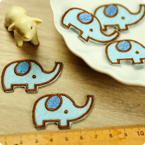 Zoo - blue elephant embroidery & felt iron on patch for kids 2pcs AP1503-07