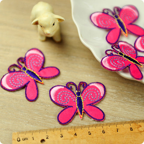 Butterfly - pink embroidery & fabirc iron on patch for kids 2pcs AP1503-08