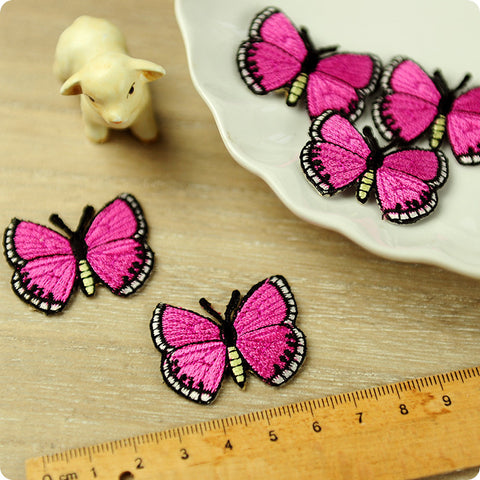 Butterfly - pink full embroidery iron on patch for kids 2pcs AP1503-09