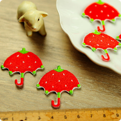 Fruits - red strawberry umbrella full embroidery iron on patch for kids 2pcs AP1503-11