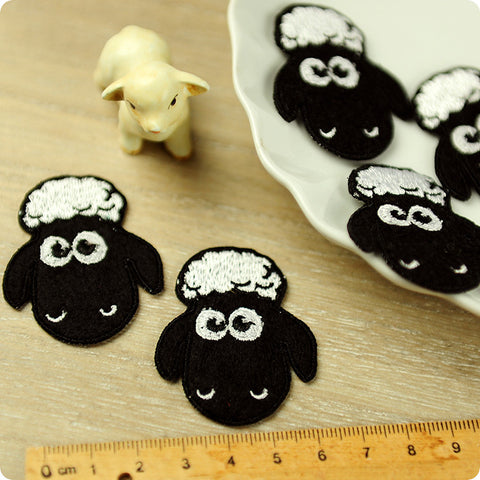 Farm - black Shaun the Sheep embroidery & felt iron on patch for kids 2pcs AP1503-12