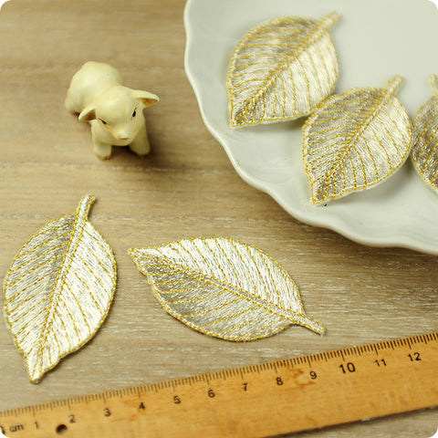 Leaf - silver leaves full embroidery iron on applique 2pcs AP1503-15