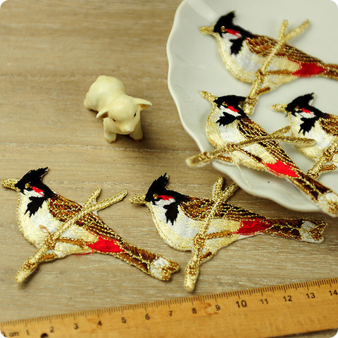 Birds - red & black waxwing full embroidery iron on applique 2pcs AP1503-18
