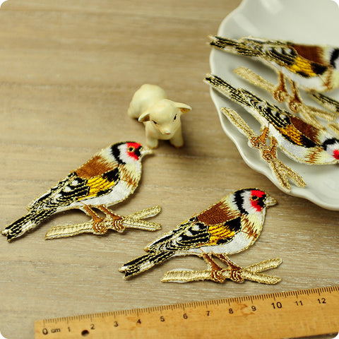 Birds - brown goldfinch full embroidery iron on applique 2pcs AP1503-19