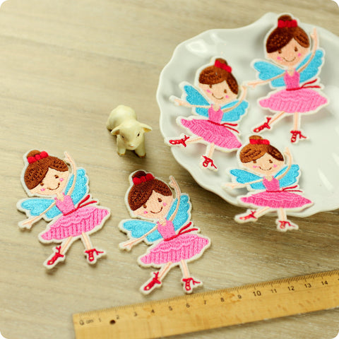 Fairy & princess - pink ballerina full embroidery iron on patch for kids 2pcs AP1503-20