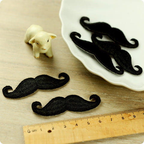 Monochrome - black moustache embroidery iron on patch for kids 2pcs AP1503-21