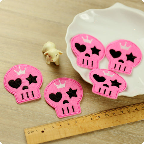 Halloween - pink skull embroidery & felt iron on patch for kids 2pcs AP1503-23