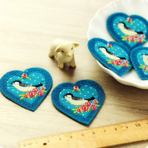 Birds - blue teal heart bird & roses embroidery & fabric iron on patch 2pcs AP1505-01