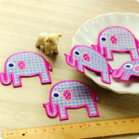 Zoo - pink floral elephant embroidery & fabric iron on patch for kids 2pcs AP1505-06