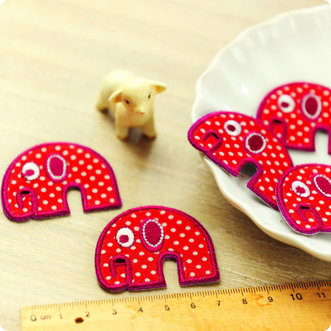 Zoo - red spotty elephant embroidery & fabric iron on patch for kids 2pcs AP1505-07
