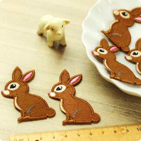 Woodland - brown rabbit embroidery & felt iron on patch for kids 2pcs AP1505-09