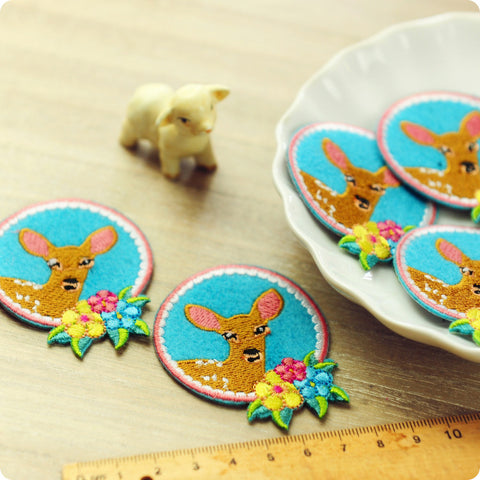 Woodland - blue deer & flowers embroidery & felt iron on patch for kids 2pcs AP1505-10