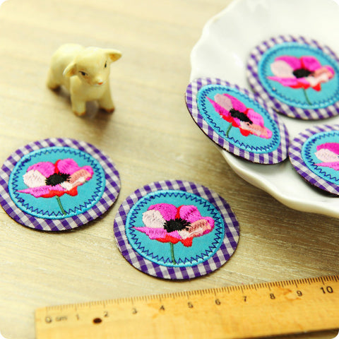 Flowers - blue & pink poppy embroidery & fabric iron on patch for kids 2pcs AP1505-15