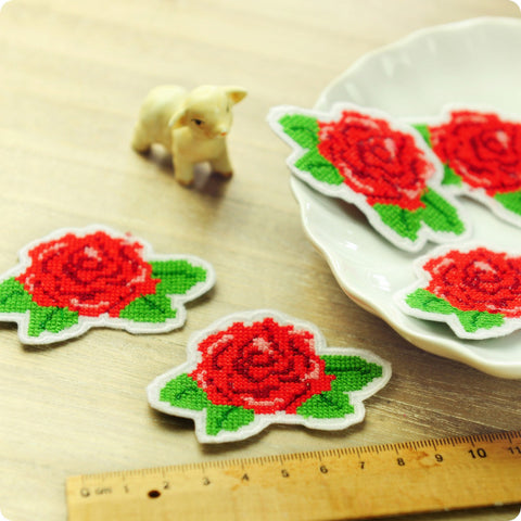 Flowers - red cross stitch rose embroidery iron on patch for kids 2pcs AP1505-16