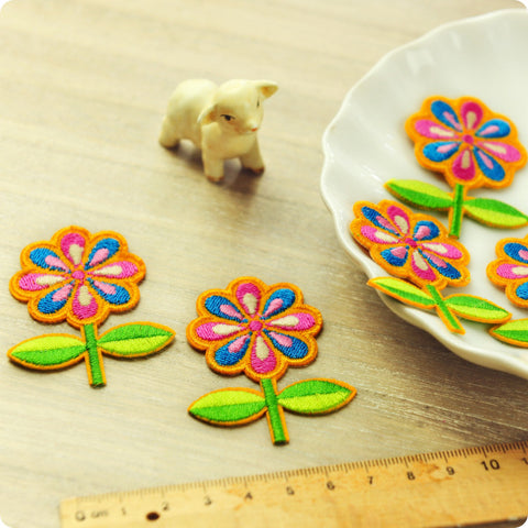 Flowers - pink & blue embroidery iron on patch for kids 2pcs AP1505-17