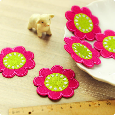Flowers - hot pink & lime embroidery & felt iron on patch for kids 2pcs AP1505-18