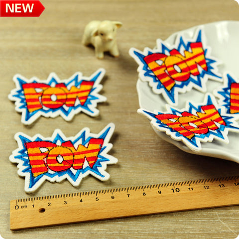 Orange & blue POW comic superhero embroidery iron on patch 2pcs