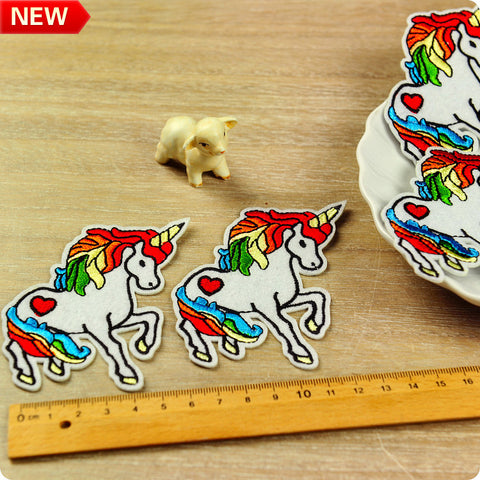 Multicolour giant unicorn felt & embroidery iron on patch 2pcs