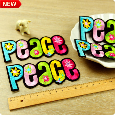 Multicolour giant peace sign iron on patch 2pcs