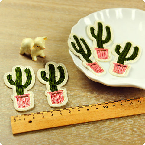 Pink & green cactus crochet iron on patch 2pcs