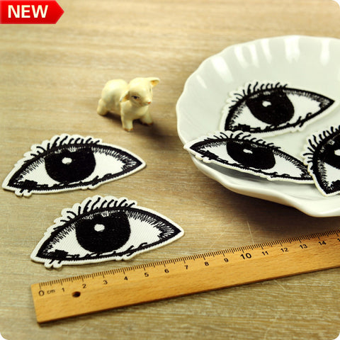 Monochrome - black & white giant eye embroidery iron on patch 2pcs