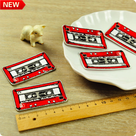 Music - red retro cassette embroidery iron on patch 2pcs
