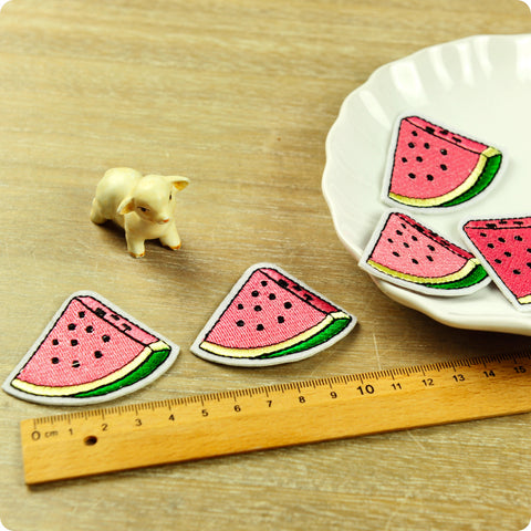 Fruit - pink watermelon embroidery iron on patch 2pcs