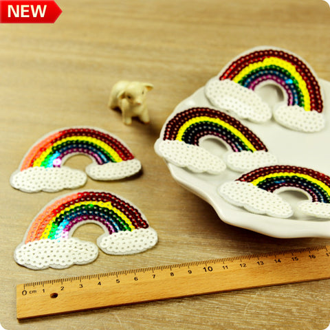 Multicolour rainbow sequined iron on patch 2pcs