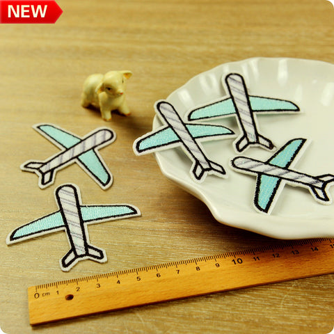 Transport - blue aeroplane embroidery iron on patch 2pcs
