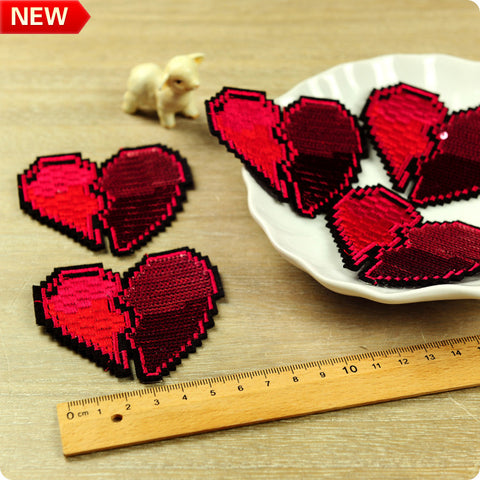 Red sweet heart embroidery & sequined iron on patch 2pcs