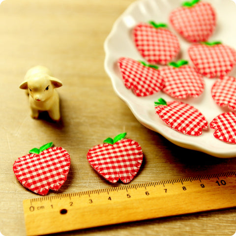 Fruit - red checked apple fabric iron on patch 2pcs