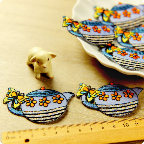Food - blue teapot with butterfly & flowers embroidery iron on patch 2pcs