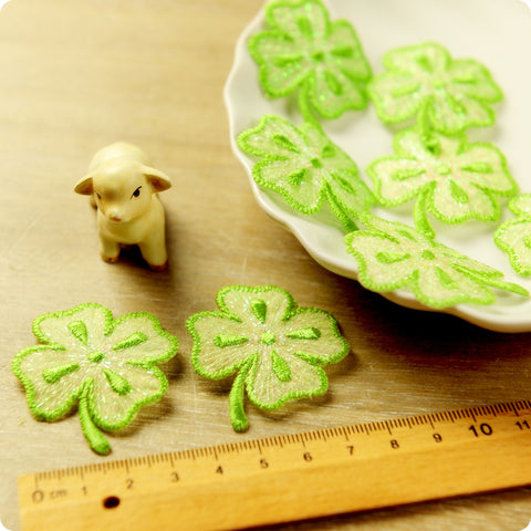 Leaf - green petite four-leaf clover embroidery iron on patch 2pcs