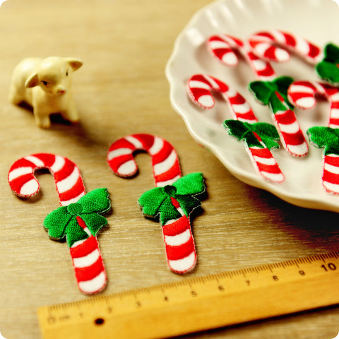 Christmas - red & green giant candy cane embroidery iron on patch 2pcs