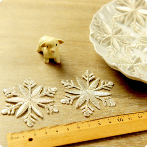 Christmas - pale gold giant snowflake embroidery iron on patch 2pcs