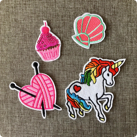 Unicorn shell cake embroidery iron on patch motif badge applique 4pcs set