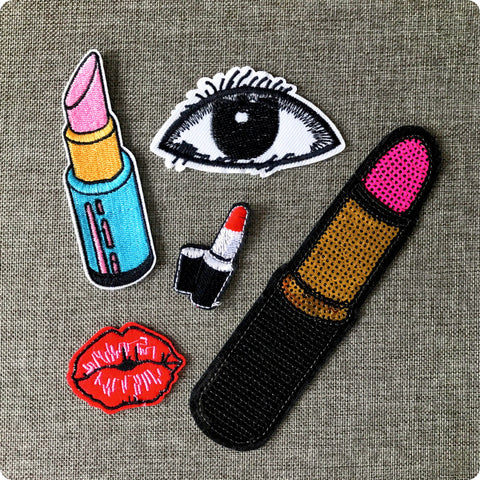 Lipstick eye sexy lips embroidery iron on patch motif badge applique 5pcs set