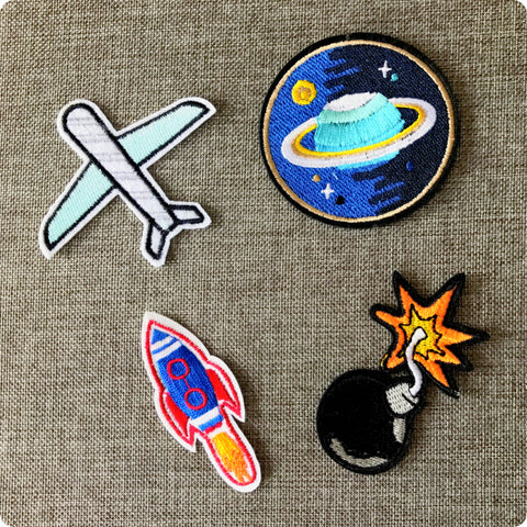 Space airplane embroidery iron on patch motif badge applique 4pcs set