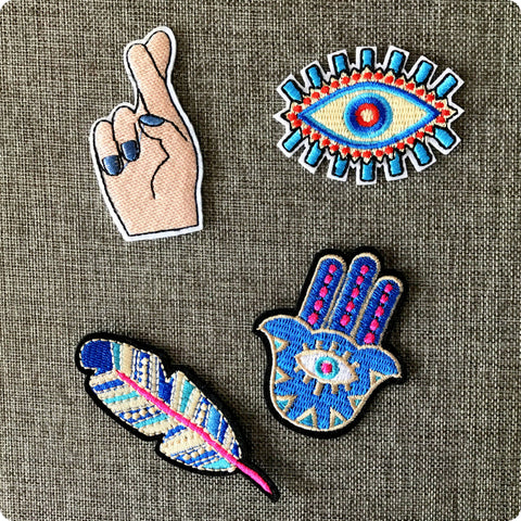 Evil eye Hamsa hand embroidery iron on patch motif badge applique 4pcs set